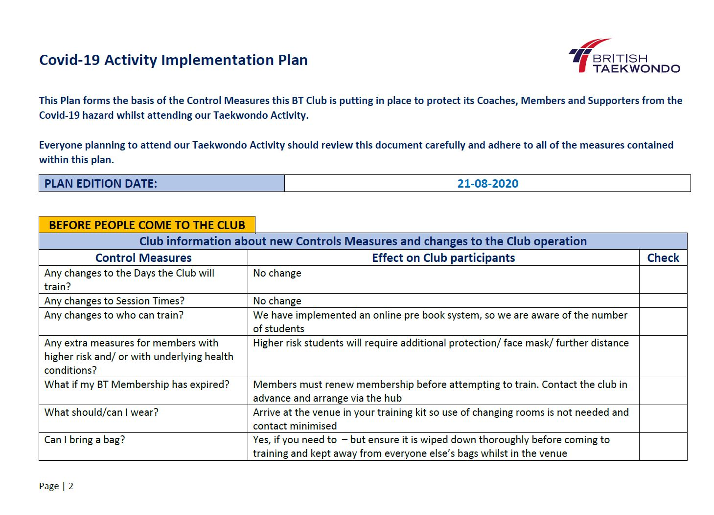 Activity Implementation Plan Preview