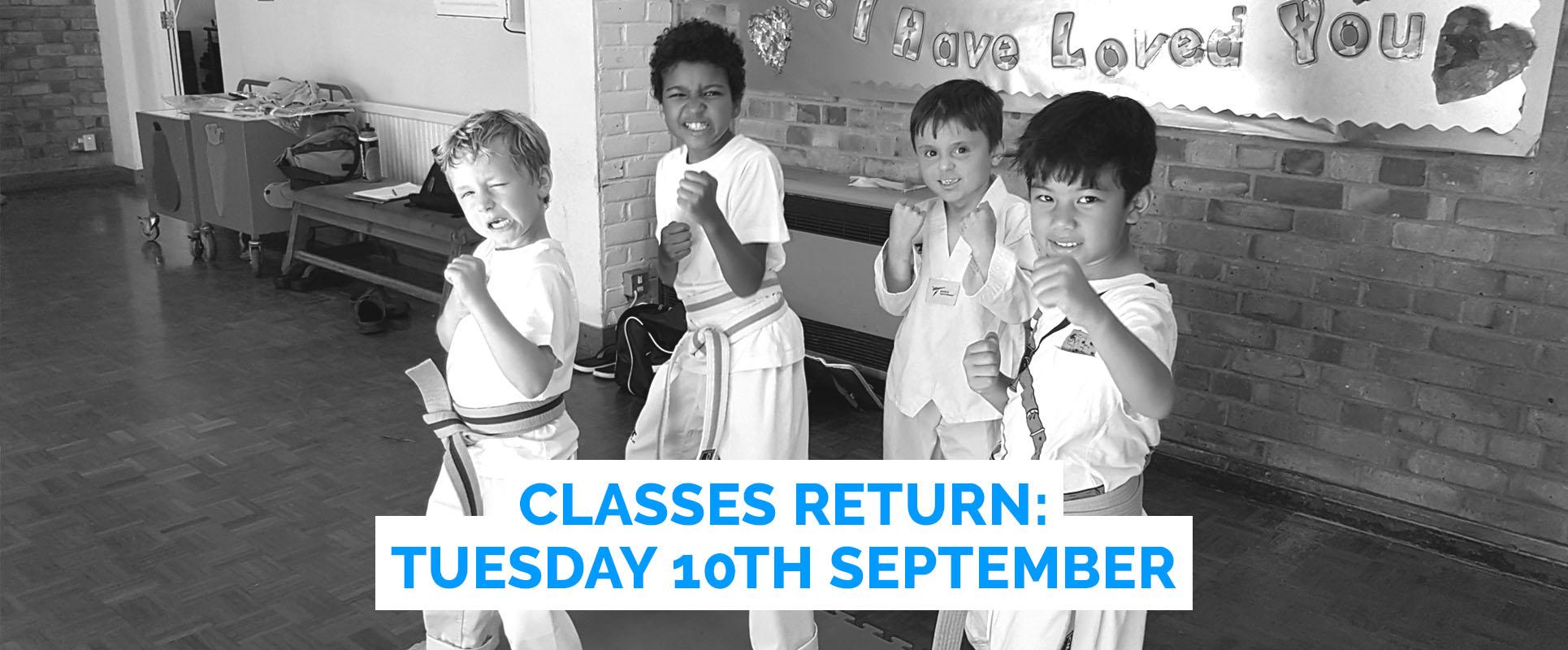 Classes Return Tuesday 10th September